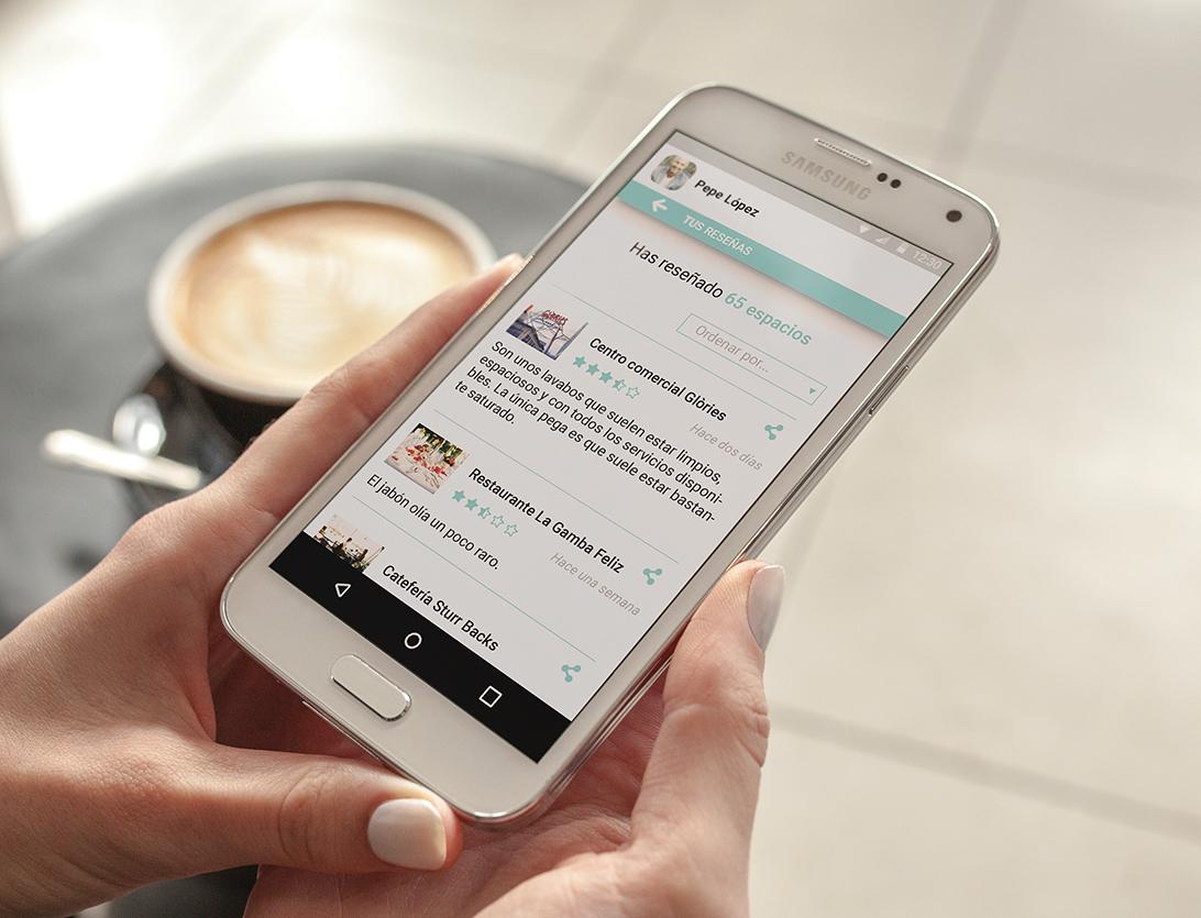 Reviewc app, pantalla de reseñas personal