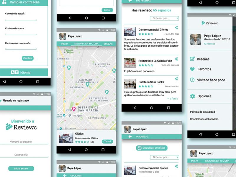 Algunas pantallas de la app Reviewc